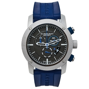 Burberry Grey Stainless Steel Rubber Sport BU7711 Men's Wristwatch 44 mm