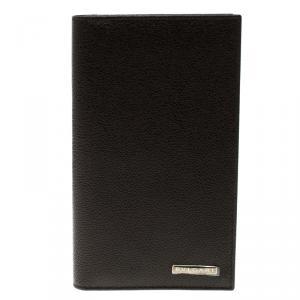 Bvlgari Dark Brown Textured Leather Passport Holder