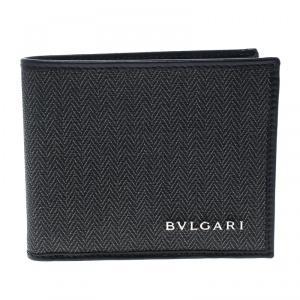 Bvlgari Dark Grey Heritage Coated Canvas Bifold Wallet