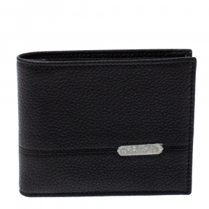 Bvlgari Black Leather Bifold Wallet