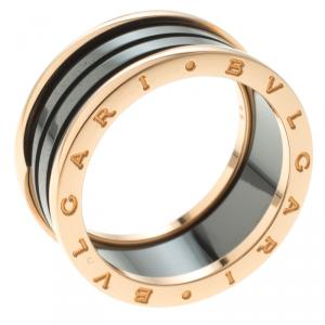 Bvlgari B.Zero1 Black Ceramic Rose Gold Ring Size 69