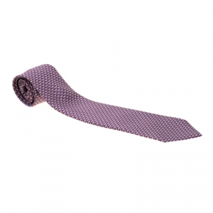 Bvlgari Purple Dragonfly Print Sevenfold Silk Tie
