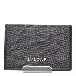 Bvlgari Black/Gray Coated Canvas Leather Weeken Business Card Holder