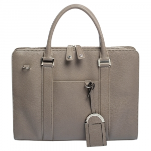 Bvlgari Taupe Grey Grained Leather Briefcase