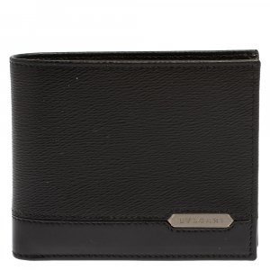 محفظة بلغاري ثنائية الطية جلد أسود