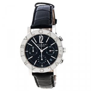 Bvlgari Black Stainless Steel Chronograph BB38SLCH Men's Wristwatch 38 mm