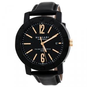 Bvlgari Black Carbongold Via Dei Condotti 10 Roma Men's Wristwatch 40 mm