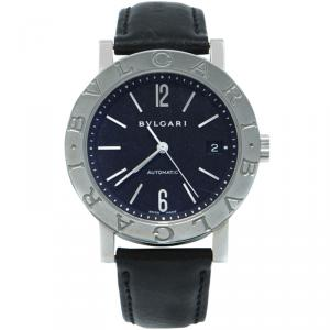 Bvlgari Black Dial Stainless Steel Leather Men's Watch 41MM