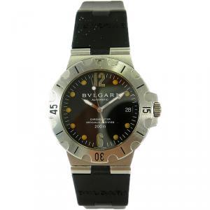 Bvlgari Black Stainless Steel Diagono Scuba Chronometer 200m Date SD38S Men's Wristwatch 38MM