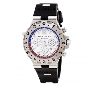 Bvlgari White Stainless Steel Diagono GMT Fly Back Chronograph GMT40SFB Men's Wristwatch 40 mm
