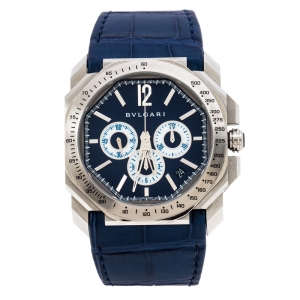 Bvlgari Blue Stainless Steel Octo Maserati Chronograph Men's Wristwatch 41MM