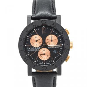 Bvlgari Black Carbon Rose Gold Kuwait Limited Edition Chronograph Watch 38MM
