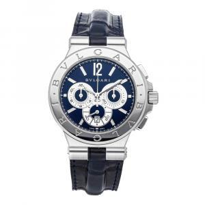 Bvlgari Blue Stainless Steel Diagono Chronograph DG42SCH Men's Wristwatch 42 MM