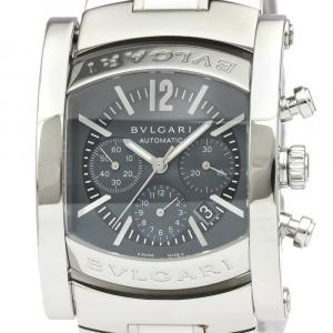 Bvlgari Gray Stainless Steel Assioma Chronograph Automatic AA44SCH Men's Wristwatch 44 MM