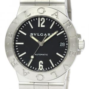 Bvlgari Black Stainless Steel Diagono Automatic LCV35S Men's Wristwatch 35 MM