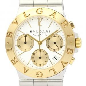 Bvlgari White 18K Yellow Gold And Stainless Steel Diagono Ch35Sg Automatic Men's Wristwatch 35 MM