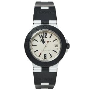 Bvlgari Silver Aluminium & Rubber Diagono AL38TA Men's Wristwatch 38 mm