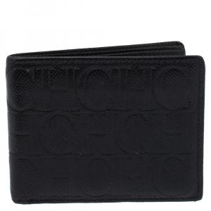 Carolina Herrera Black Monogram Leather Bi-Fold Wallet