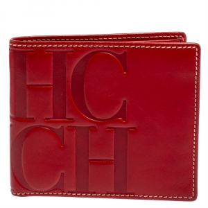 Carolina Herrera Red Monogram Leather Bifold Wallet