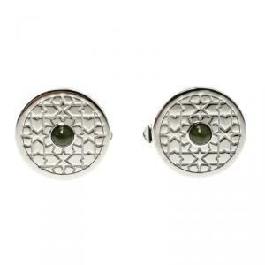 Cartier Middle East Exclusivities Mashrabiya Motif Nephrite Jade Silver Cufflinks
