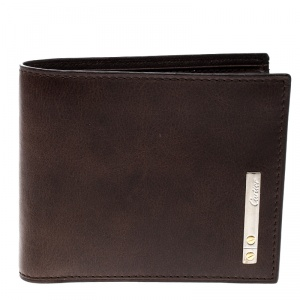 Cartier Brown Leather Santos De Cartier Bifold Wallet