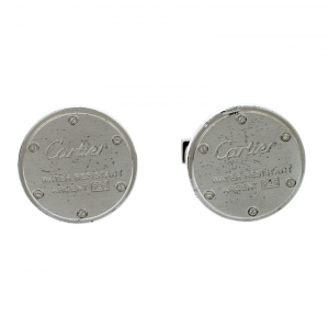 Cartier Water Resistant Decor Silver Round Cufflinks