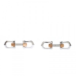 Cartier Elongated C Shape Rose Gold Finish Silver Decor Cufflinks
