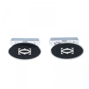 Cartier Double C Logo Decor Silver Oval Cufflinks