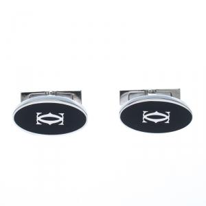 Cartier Double C Logo Decor Silver Oval Cufflinks
