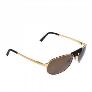Cartier Brush Gold/Black AAD2994 Polarized Santos De Cartier Sunglasses