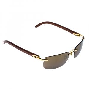 Cartier Brown 140B Wooden C Décor Sunglasses