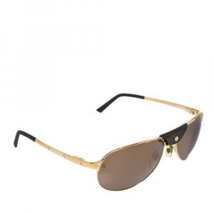 نظارة أفياتورز كارتييه سانتوس دو كارتييه بني/ذهبي
