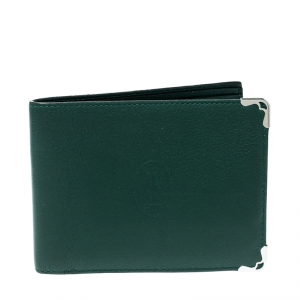 Cartier Green Leather Must De Cartier Bifold Wallet