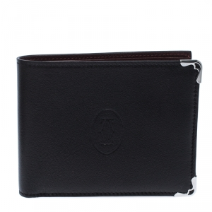 Cartier Black Leather Must De Cartier Bifold Wallet