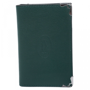 Cartier Green Leather Must De Cartier Card Holder