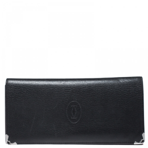 Cartier Black Leather Must de Cartier 7 CC Continental Wallet