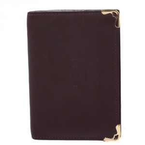 Cartier Burgundy Leather Must De Cartier Card Holder