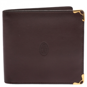 Cartier Burgundy Leather Must De Cartier Bifold Wallet