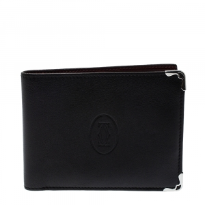Cartier Black Leather Must De Cartier 6CC Bifold Wallet