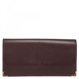 Cartier Burgundy Leather Must de Cartier Continental Wallet