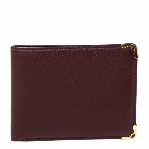Cartier Burgundy Leather Must De Cartier 6CC Bifold Wallet