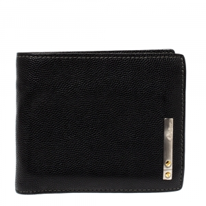 Cartier Black Leather Santos De Cartier Bifold Wallet