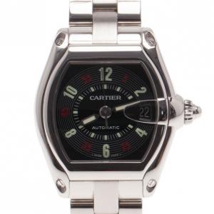 Cartier Black Stainless Steel Roadster Men's Writwatch 38MM