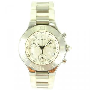Cartier White Stainless Steel and Rubber Must 21 Chronoscaph 2424 Chronograph W10184U2 Men's Wristwatch 37MM