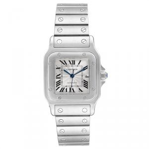 Cartier Silver and Stainless Steel Santos Galbee W20055D6 Men's Wristwatch 29MM