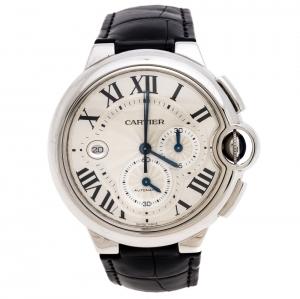 Cartier Silver Stainless Steel Ballon Bleu 3109 Men's Wristwatch 44MM