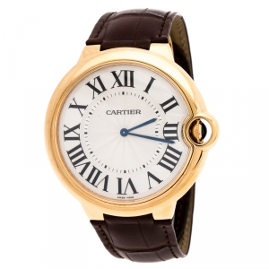Cartier Silver 18k Rose Gold Ballon Bleu 3376 Men's Wristwatch 46MM