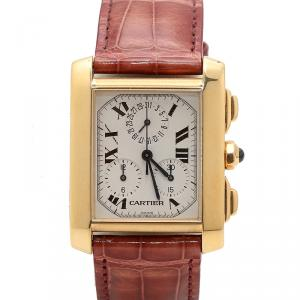Cartier Silver Dial 18K Yellow Gold Tank Francaise 1830 Men's Watch
