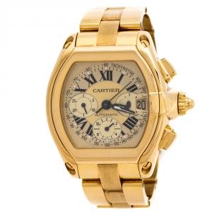 Cartier Champagne 18K Yellow Gold Roadster 2619 Men's Wristwatch 40 mm
