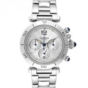 Cartier Silver Stainless Steel Pasha Seatimer Chronograph W31030H3 Men's Wristwatch 38 MM
